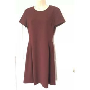 Theory Dress 6 Corset Tee Crepe Burgundy Red